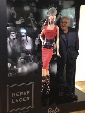 Celebrating the Barbie Launch Max Azria at the melrose boutique with Red Bandage dress barbie doll