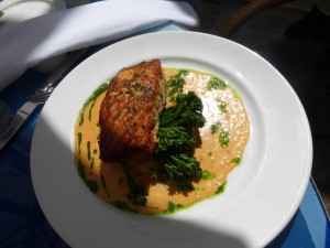 Geoffrey's Restaurant in Malibu serving salmon over a bed of broccoli and mashed potatoes
