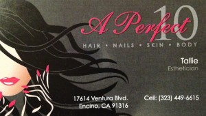 Tallie Aesthetician in Encino at A Perfect 10 Salon for your skin care needs.