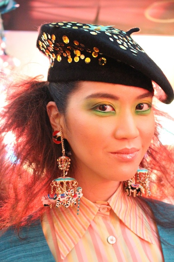 Chandelier Earings and Stunner Model Makeup at the MAC Playland beauty trends Los Angeles