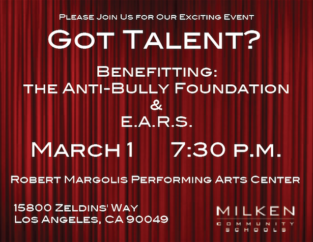 Got Talent Milken High School in Los Angeles Anti Bullying Event