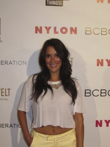 Angelique Cabral celebrity red carpet fashion trends at the Nylon Magazine Young Hollywood Party
