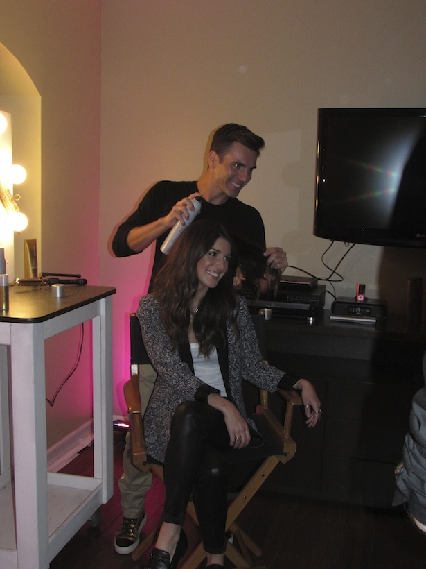 DJ Shenae Grimes getting her hair done by colorist Denis de Souza at Joico Summer Event