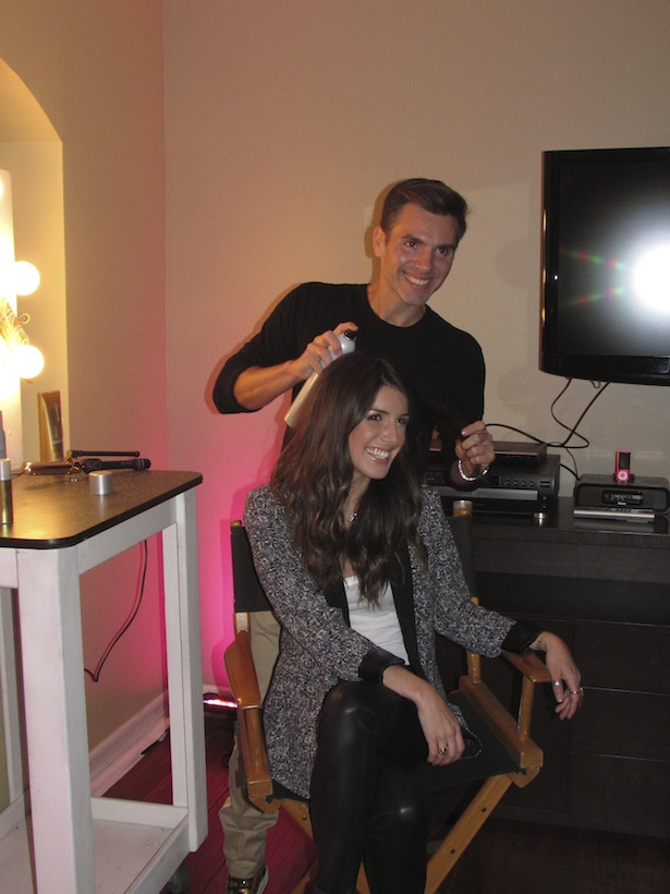 Denis de Souza styling DJ Shenae Grimes hair at Joico Summer LA Event