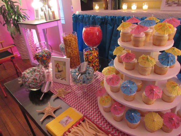 Hawaii Cupcake with little colorful umbrellas Love and Candyland at Joico Hair Event in Los Angeles