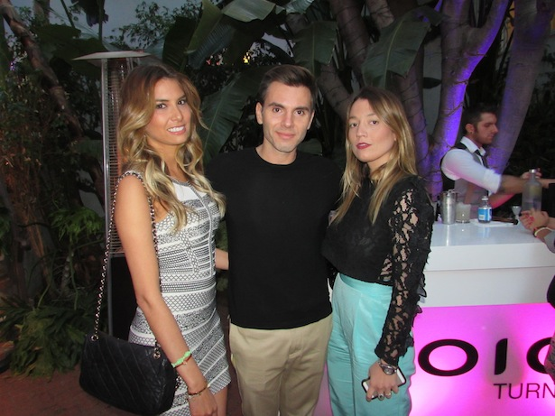 Maria Corella wardrobe stylist posing with hair stylist Denis de Souza  and guest at Joico Summer Hawaii themed Event in Los Angeles