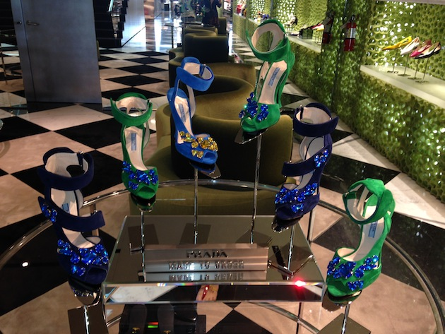 Green and Blue Prada Jeweled Ankle Strap Heels