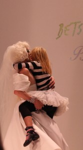 Betsey Johnson kisses bride at NYFW Show for the finale September 2014 NYFW at Lincoln Center