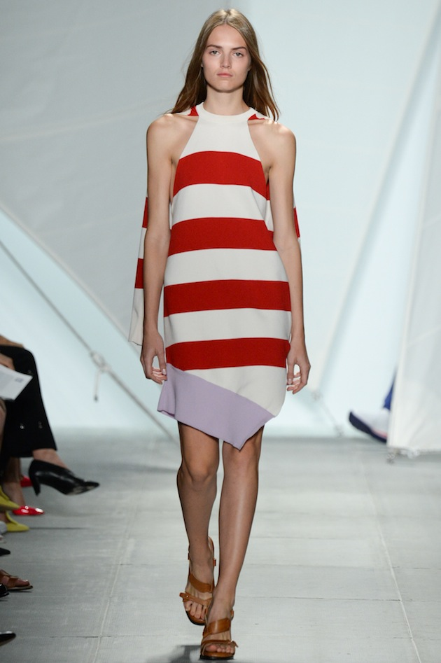 SS15 LACOSTE NYFS - LOOK 38 Fashion Week 2014 Red Stripes Dress Lacoste
