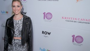 Kristin Cavallari New York Fashion Week Party Look Crop top with Leather Jacket at The Row NYC Hotel
