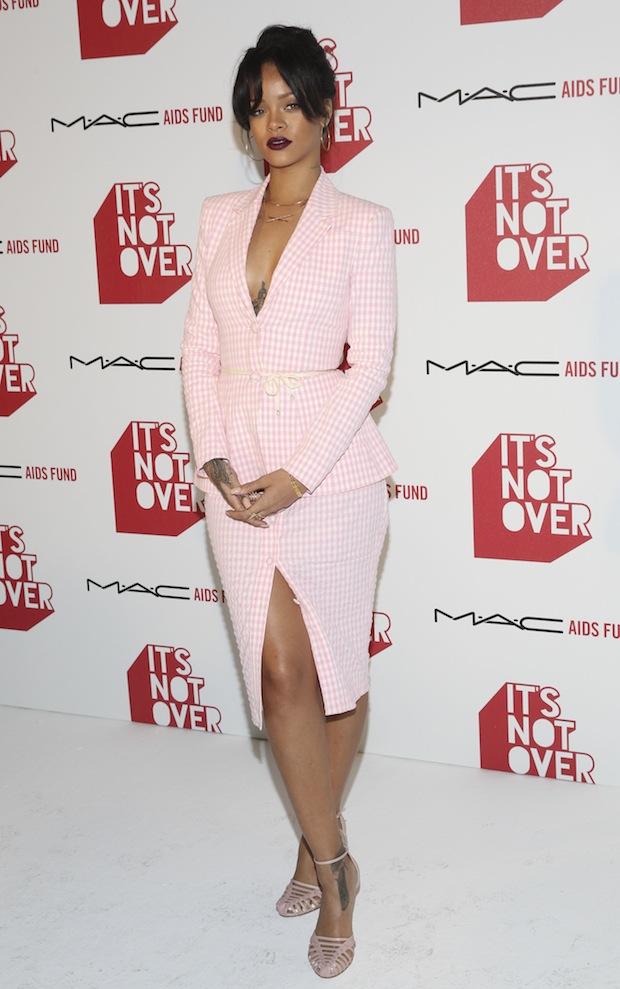 Rihanna Pink Altuzarra suit at It's Not Over World Premier in Hollywood