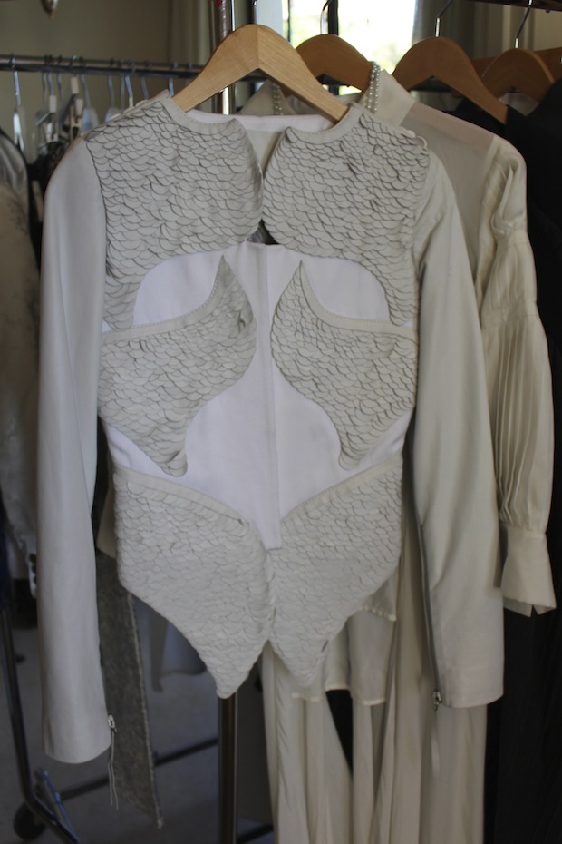 White Leather Jacket Seventh House PR Press Preview Days 2014 Chateau Marmont Los Angeles Press Days