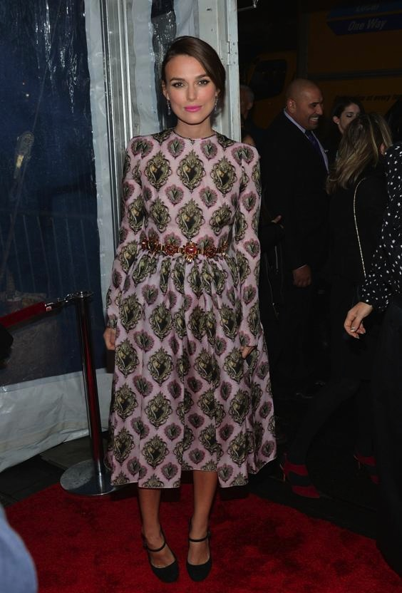 Keira Knightley wears pink printed Dolce Gabbana dress at Imitation Game NYC Premier