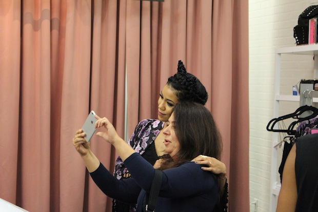 Singer Jhene Aiko takes selfies with fans at The Grove West Hollywood