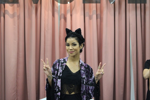 Singer Jhene Aiko line for Lovers and Friends takes pics with fans at The Grove in West Hollywood For Revolve Clothing Pop Up Shop Event