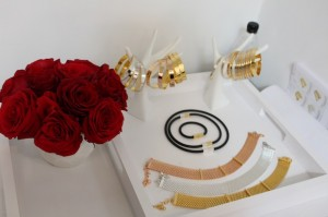 Roses are red Jewelry is by Tuleste Golden Globes Colgate Optic Beauty Lounge in LA