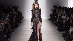 Michael Costello long black dress lace with thigh slit NYFW 2015