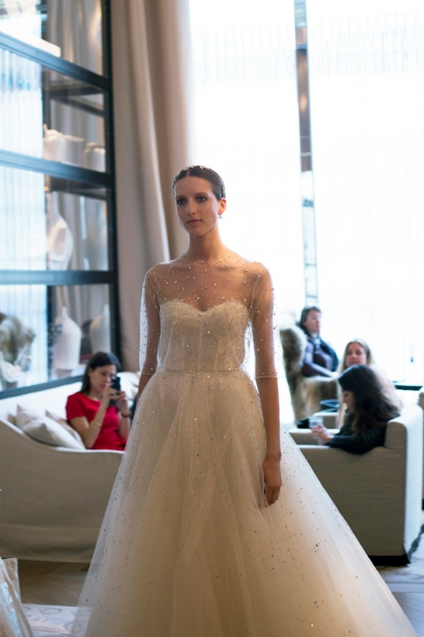Monique Lhuillier Sleeve Wedding Dress from Bridal Fashion Week in NY