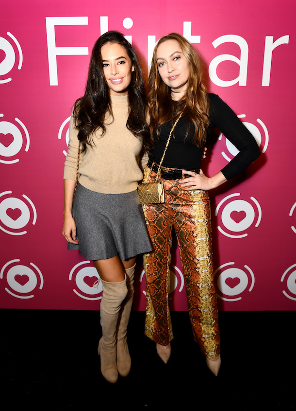 Actors Chloe Bridges and Brandi Cyrus at Flirtar Launch Party at Mondrian