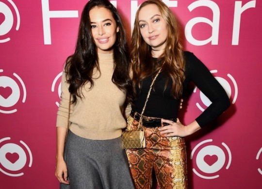 Actors Chloe Bridges and Brandi Cyrus attend Flirtar launch party in West Hollywood on November 14, 2017