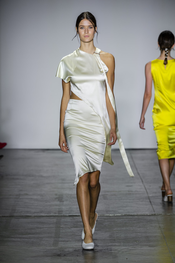 Nonie White two piece skirt top runway look New York Fashion week runway show ss19