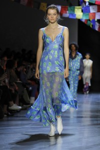 Prabal Gurung Spring 2019 New York Fashion Week Blue dress with green leaves