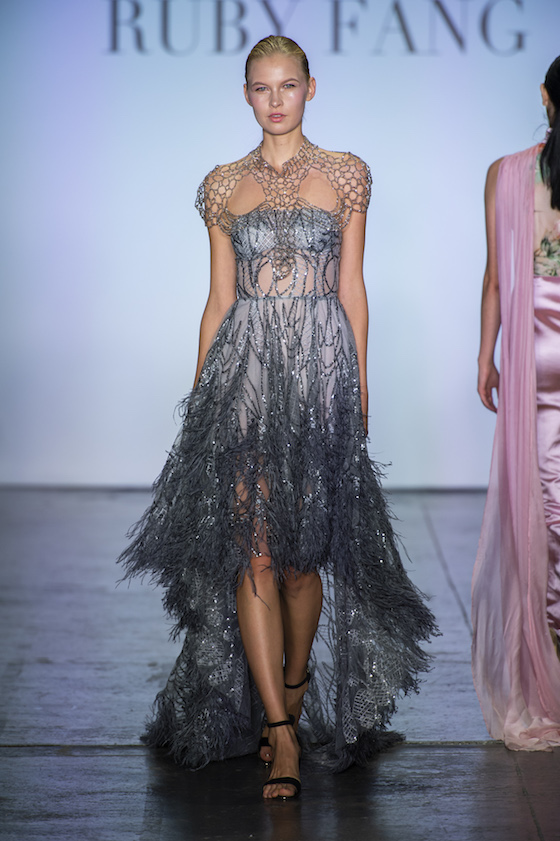 Ruby Fang Feather dress runway show spring 2019